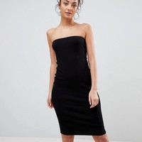 ASOS TALL Midi Bandeau Rib Bodycon Dress at asos.com