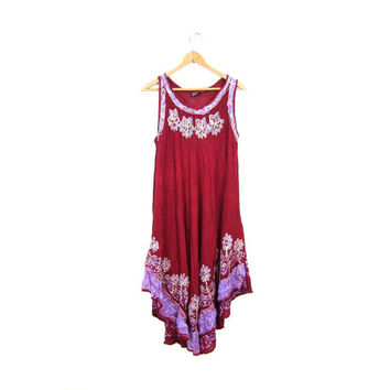 Boho Dress Red GAUZE Tribal Dress 90s Dress Sheer Midi Length Batik Festival Dress PURPLE Indian Tent Dress Hippie Ethnic Large Medium Small