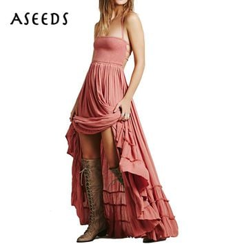 Sexy white backless cotton long maxi dress women Strap sleeveless summer beach dress 2017 Casual boho women dress vestidos mujer