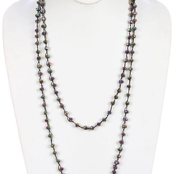 Multi-Color Iridescent Glass Bead Knot Long Necklace Extra Long Wrap Around