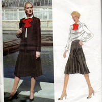 Joseph Picone Vogue American Designer Sewing Pattern 2551 Pleated Skirt Semi Fitted Jacket Ruffle Front Blouse Shirt Top Uncut FF Bust 34