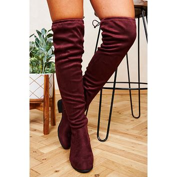 Cooling Out Faux Suede Thigh High Boots (Vino)