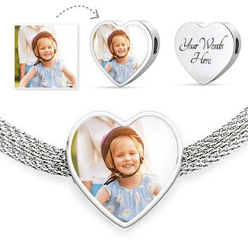 Personalized Photo Of Your Daughter, Son, Couple, or Pet Heart Bracelet - Mother's Day Gift With Personal Picture + Personalized Engraving