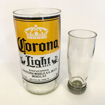Upcycled Beer Bottle Shot Glass Chaser Set. Corona Light. Recycled Glass Bottle. Rum and Coke. Man Cave. Groomsmen Gift.