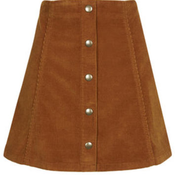 TALL Cord Button Front A-Line Skirt - Tan