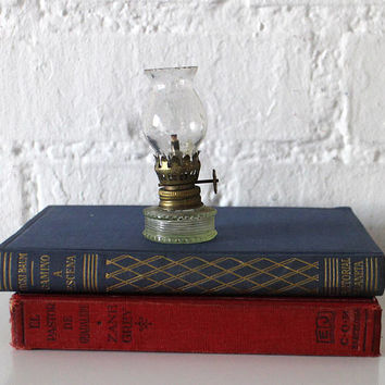 Vintage Tiny Oil Lamp - Glass oil lamp - Small  Glass Oil Lamp