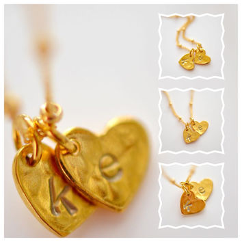 Dainty Gold Vermeil Heart Initial Necklace, Gold Heart Initial Necklace, Couple's Necklace, Personalized Necklace , Mother's Necklace , Gift