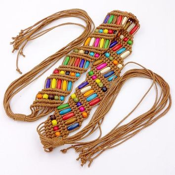 Goowail 2017 vintage Bohemian style knitted belt for women wide decoration fashion female belt for ladies summer dress