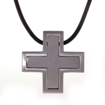 Stainless Steel Celtic Cross Men's Necklace Pendant with Black Rubber Cord: Length 20 Inches