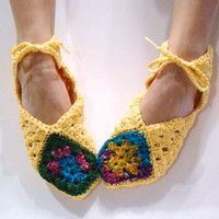 Granny Square Slippers Crochet Women Slippers Ballet Gladiator Sandal Womens Multi Color