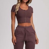 Basia Button Up Crop Top - Mauve