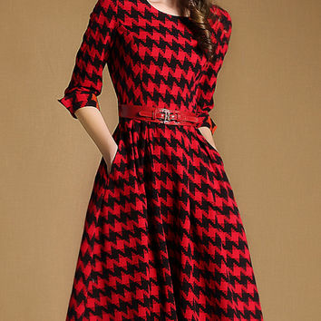 Red Houndstooth Waist Belt Midi Dress
