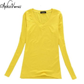 2016 New Slim warm autumn and Winter women cotton sweaters pullovers With velvet V-neck long-sleeved female