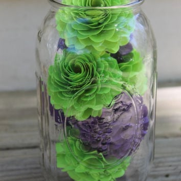 Flower Filled Quart Sized Mason Jar - Great for home decor, center pieces, or even give as a gift!