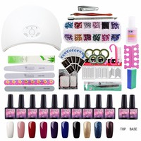 Nail Set Gel Nail 36W UV Lamp Dryer Manicure Set 10pcs Nail Gel Polish Soak Off Manicure Gel Polish Kit For Nail Salons