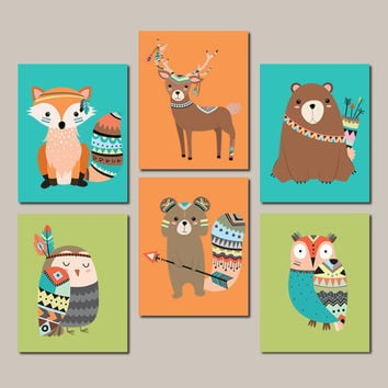 Tribal Nursery Art, Woodland Nursery Wall Art, Baby Boy Nursery Decor, Tribal Woodland Animals, Girl Nursery Decor Set Of 6 Prints Or Canvas