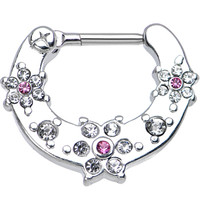 "16 Gauge 5/16"" Clear and Pink Gem Flowers Septum Clicker 