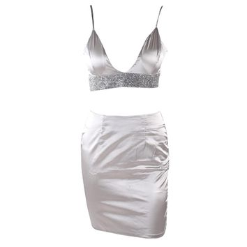 Satin Glitter Dress Set