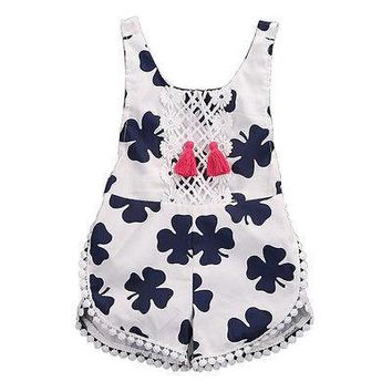 Baby Girl Four Leaf Clover Print Summer Sunsuit