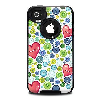 The Vintage Vector Heart Buttons Skin for the iPhone 4-4s OtterBox Commuter Case