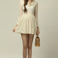OASAP - Lace Panel Peter Pan Collar Dress - Street Fashion Store