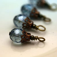 Bead Dangle Charm Drop Set in Luster Transparent Blue Czech Crystals - 4 Pieces