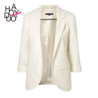 Womens candy color slim blazer with three quarter sleeve and with out button design