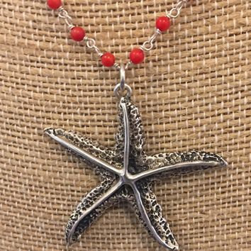 Starfish Pendant Necklace-sterling silver Vintage/Reproduction coral wire wrap chain
