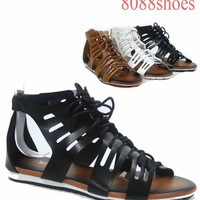 Women's Cute Fashion strappy cage Gladiator Lace Up Flat Sandal Size 6 - 11 NEW