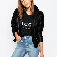 ASOS Ultimate Biker Jacket with Zip Detail in Leather