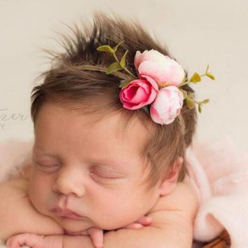 New Girls Flower Headband Newborn Rose Hair Band Headwear Eco children Tieback Baby Photography props