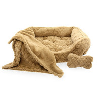 Minky Fur Dog Bed — Beige