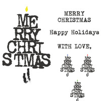 Personal and Commercial Use DIY Christmas/Holiday Card Stamp Graphics! 4 BULB colors, and extra banners! For Scrapbooking, etc.