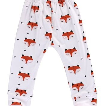 Newborn Babys Girls Boys Clothes Unisex Casual Spring Print Cotton Autumn Cute Fox Pants Trousers Bottoms Baby Girl Boy Clothes