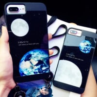 Unique moon and earth Phone Case Cover for Apple iPhone 7 7 Plus 5S 5 SE 6 6S 6 Plus 6S Plus + Nice gift box! LJ161101-007