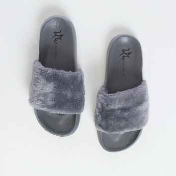 Cotton Candy Gray Faux Fur Slippers LFL by Lust For Life