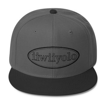 Wool Blend Snapback - Black iiWiiyolo Oval Label