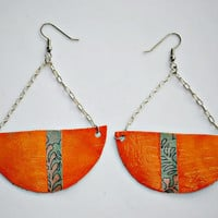 Bringing Back Orange,Geometric,Pattern,Orange,Leather,Dangle,Chain,Long,Paper,Modern Art,High Fashion,Earrings