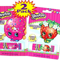 "Shopkins Flavored Lip Balm ""D'Lish Donut"" & ""Strawberry Kiss"" Bundle - 2 Pack"