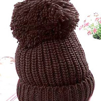 Chunky Knit Hat Pom Pom Hat Knit Brown Hat Slouchy Beanie Fall Winter Hat Women Men Clothing Fashion Accessories Gift Ideas