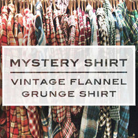 Vintage Mystery Flannel Plaid Tartan Grunge Shirt 90s Button-up Top Hipster Lumberjack Boho Oversized Boyfriend Unisex small medium large xl
