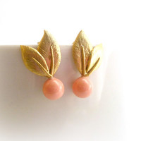 Coral Pink & Gold Wedding Post Earrings, Coral Bridal Leafy Earrings, Pastel Wedding Jewelry, Coral Pink Weddings