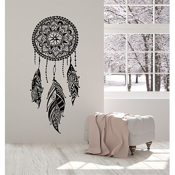 Vinyl Wall Decal Bedroom Design Feathers Dreamcatcher Amulet Stickers Mural (g1688)