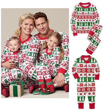 New Fashion Christmas Kids Girls Boys Sleepwear Family Matching Pajamas Set Snoeflake Sleepwear Nightwear