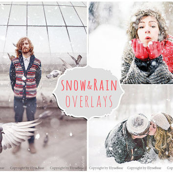 Snow Photoshop Overlays: Winter Wonderland Photo effect layer, Realistic Snowflakes for Christmas mini Sessions, action download