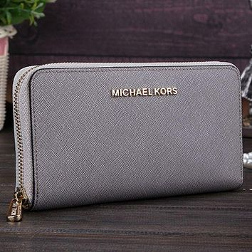 MK Michael Kors Trending Ladies Leather Zipper Wallet Purse Grey I-MYJSY-BB