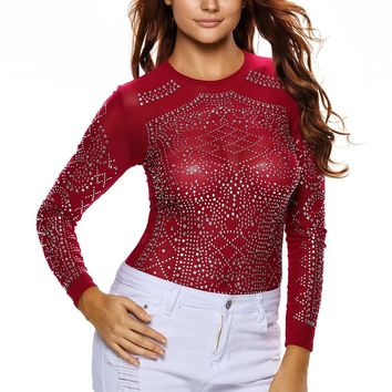 Chicloth Red Iridescent Stones Long Sleeves Top