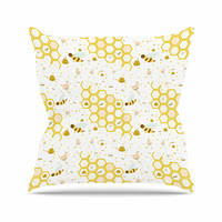 "Stephanie Vaeth ""Honey Bees"" White Yellow Throw Pillow"