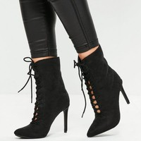 Missguided - Black Printed Thigh High Long Boots