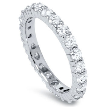 1.00CT Diamond Eternity Band Ring 14 KT White Gold Size 4-9